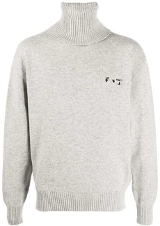Off-White embroidered logo roll neck jumper