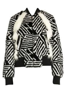 Off-White Faux-Fur Zebra Monogram Bomber Jacket
