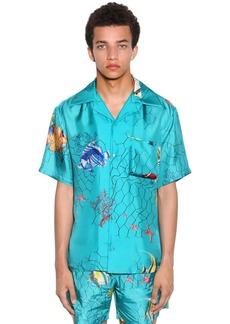 Off-White Fishnet Holiday Print Silk Bowling Shirt