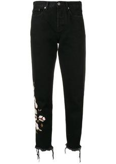 Off-White floral appliqués jeans