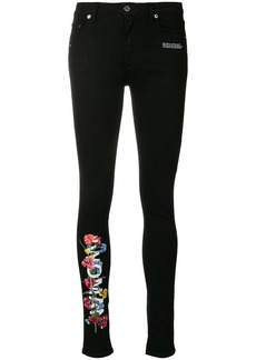 Off-White floral embroidered skinny jeans
