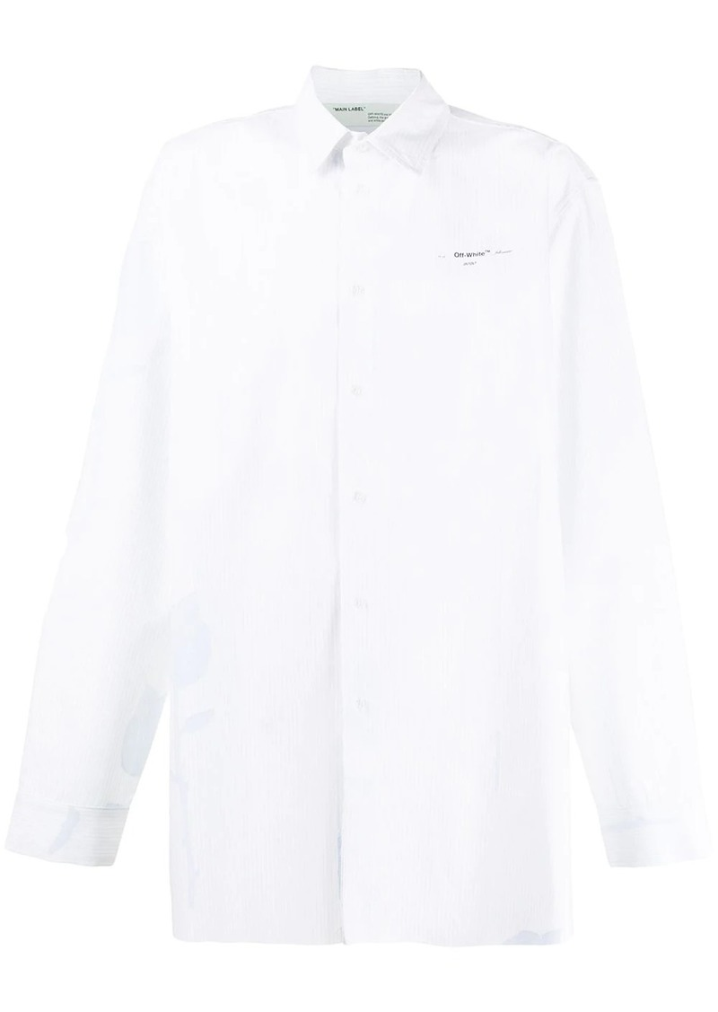 Off-White floral embroidered striped oversized shirt