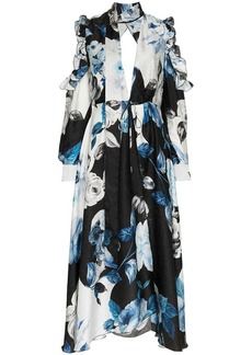 Off-White floral flared silk midi dress