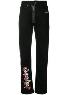 Off-White floral high-waist jeans