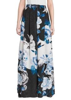 Off-White Floral Silk Wide-Leg Pants