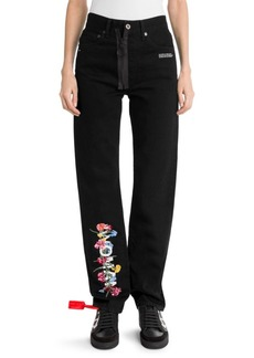 Off-White Floral Text Baggy Jeans