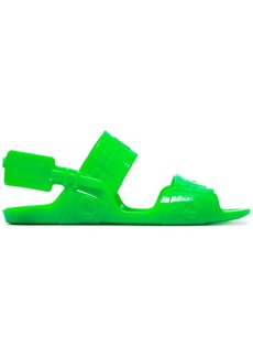 Off-White fluorescent green Zip Tie jelly sandals