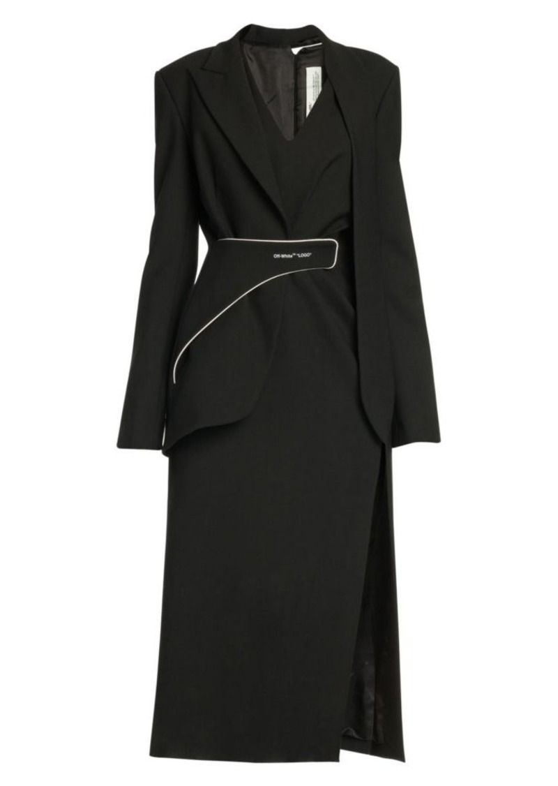 Off-White Formal Tailored Long Wool-Blend Dress