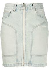 Off-White front zip denim mini skirt