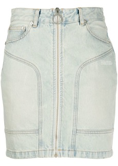 Off-White front zip denim mini skirt