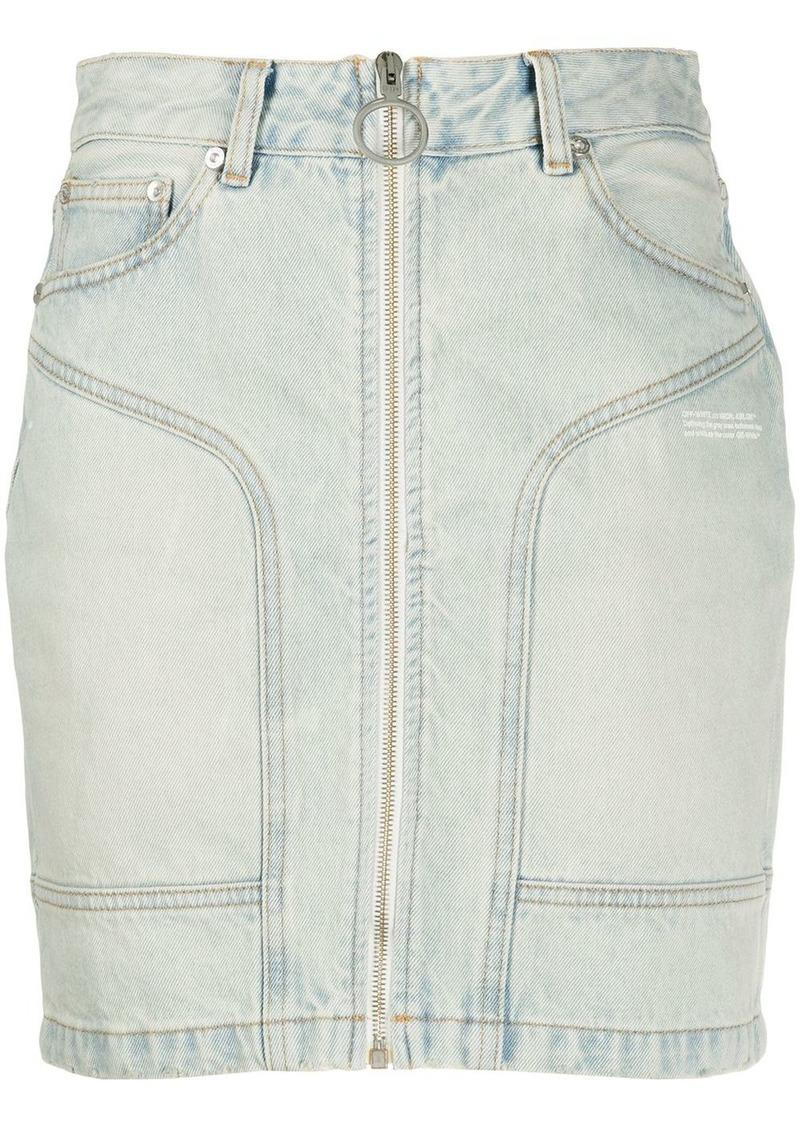 front zip denim mini skirt