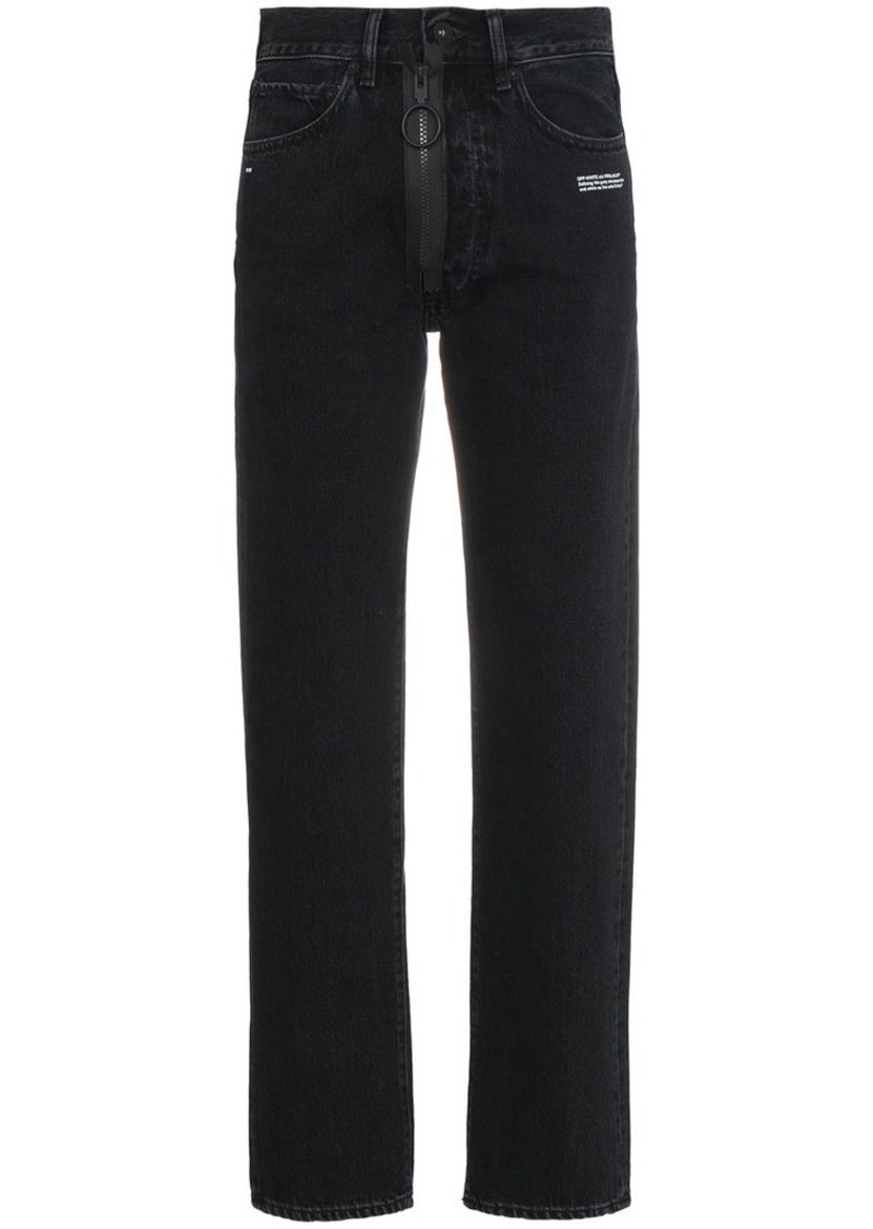 Off-White Front Zip Slim Leg Jeans