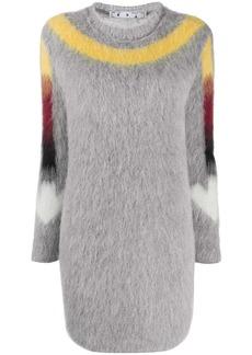 Off-White fuzzy knit Arrow logo dress