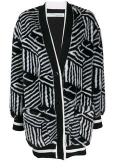 Off-White geometric faux fur cardigan