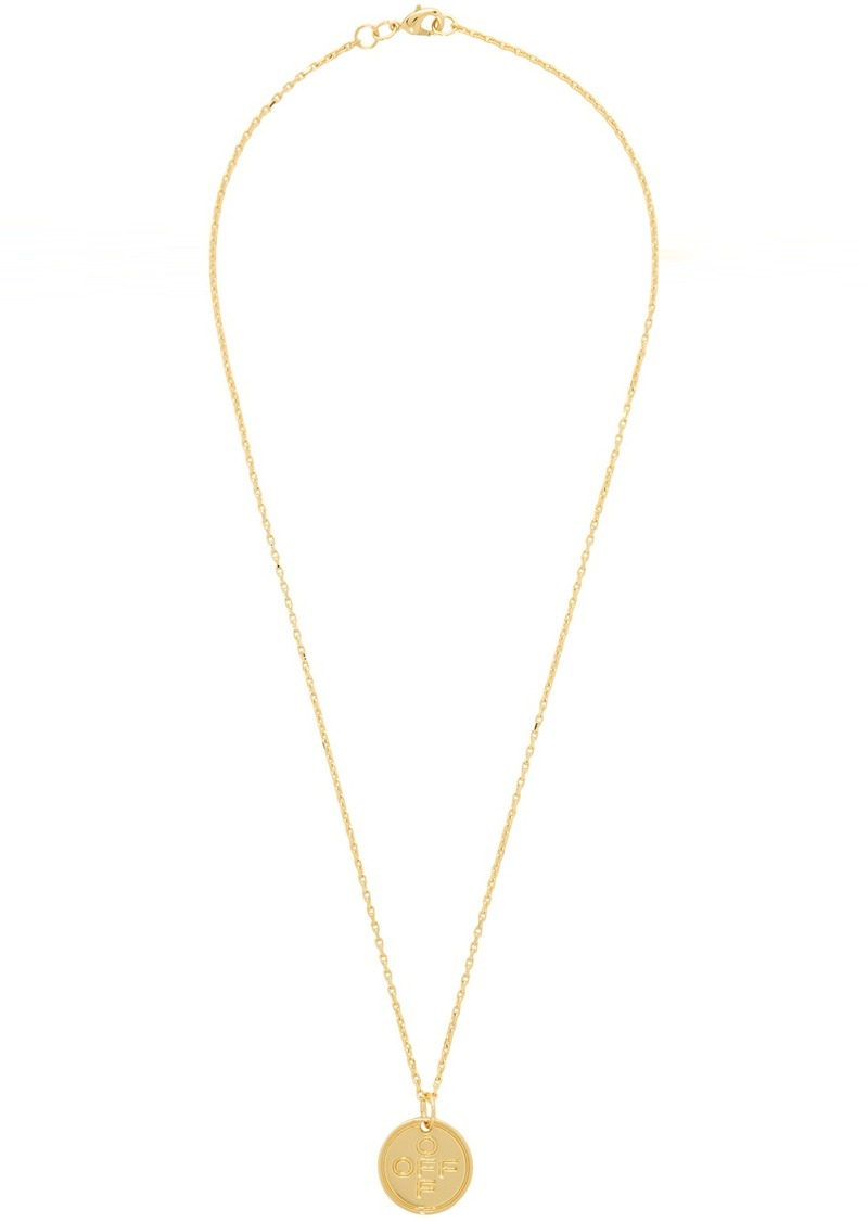 Off-White Gold Small Logo Cross Necklace