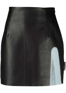 Off-White graffiti detail mini leather skirt