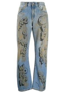 Off-White graffiti print straight leg jeans
