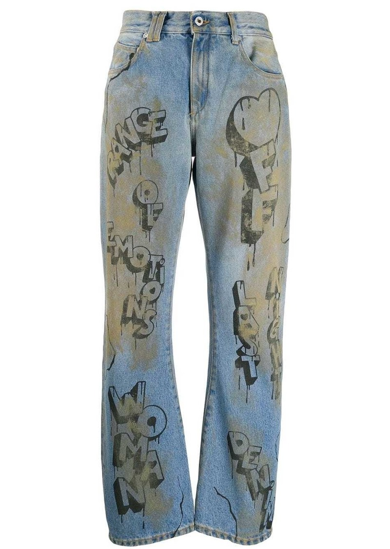 Off-White graffiti print straight leg jeans