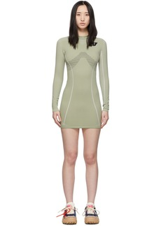 Off-White Green Athletic Long Sleeve Dress
