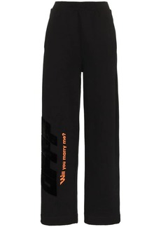 Off-White High Waisted Text Print Cotton Trousers