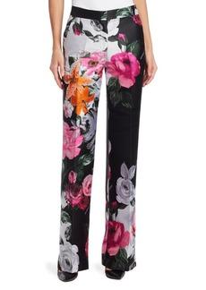 Off-White Jacquard Floral Wide-Leg Pants
