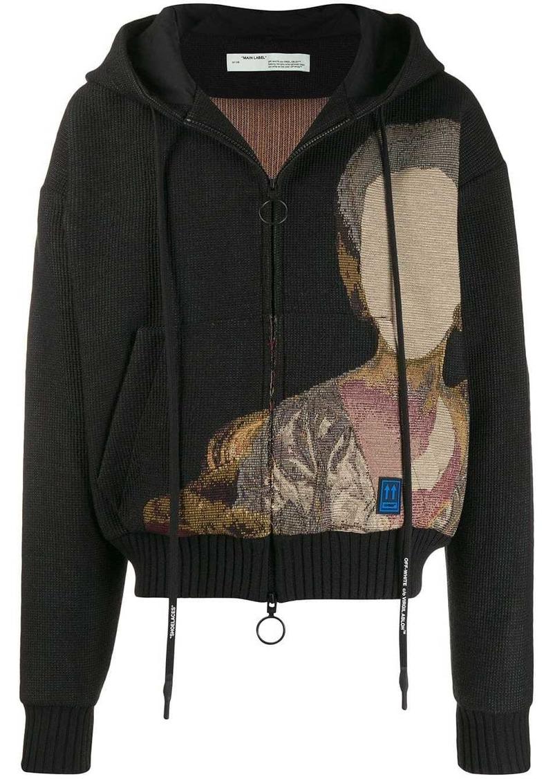 Off-White jacquard knit hooded jacket