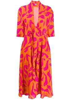 Off-White leaf print plung dress