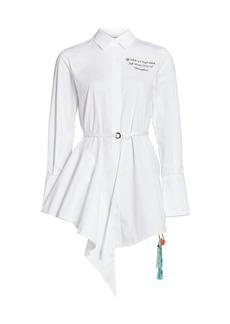 Off-White Logo Asymmetric Poplin Dress