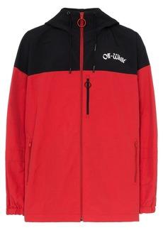 Off-White logo hooded windbreaker jacket