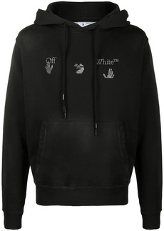 Off-White logo-print distressed-effect hoodie
