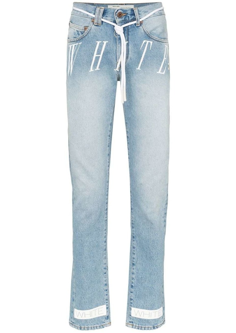 Off-White logo print slim leg jeans