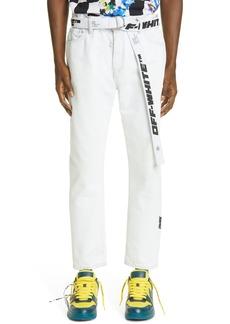 Men's Off-White Belted Slim Fit Crop Jeans