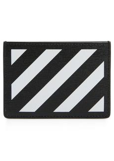 Men's Off-White Diagonal Stripe Card Wallet - Black