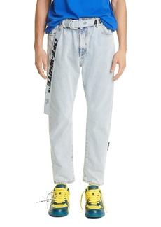 Men's Off-White Slim Fit Crop Jeans