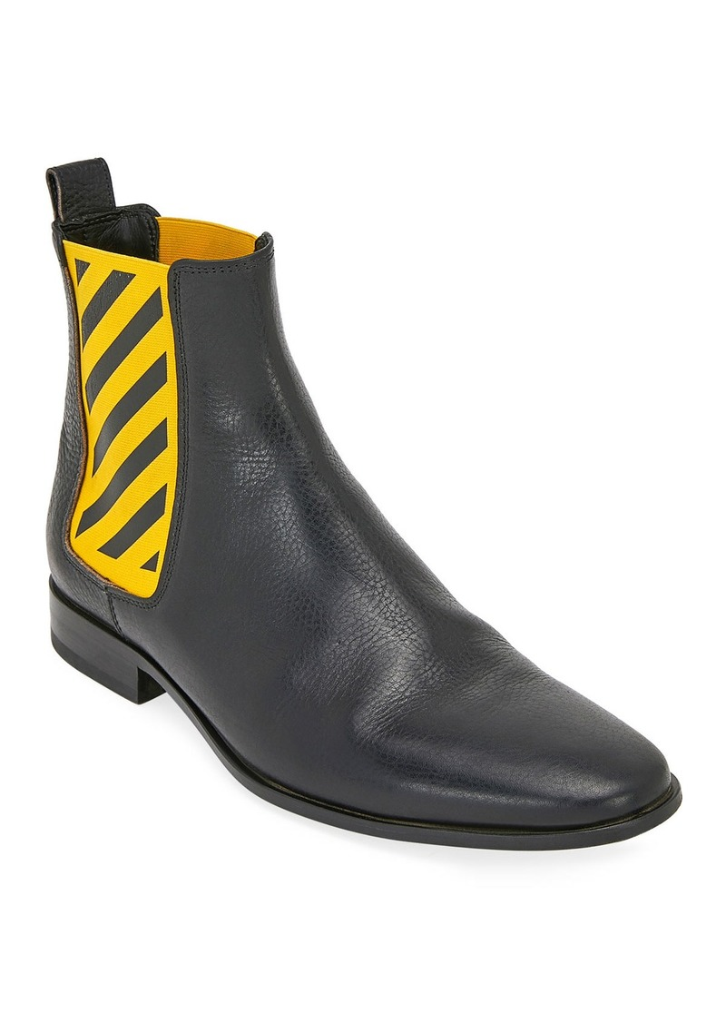 Off-White Men's Striped-Gore Leather Chelsea Boot
