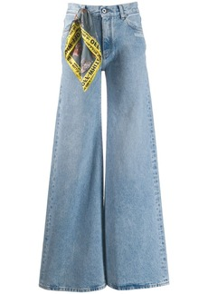 Off-White mid rise wide-leg jeans