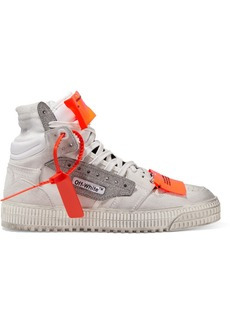 Off-White Off Court Logo-embellished Distressed Suede, Canvas And Leather High-top Sneakers