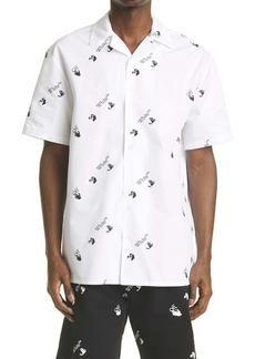 Off-White Allover Logo Button-Up Cotton Camp Shirt