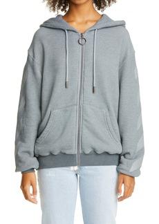 Off-White Arrow Cotton Blend Zip Hoodie