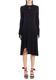 Off-White Asymmetrical Hem Long Sleeve Dress