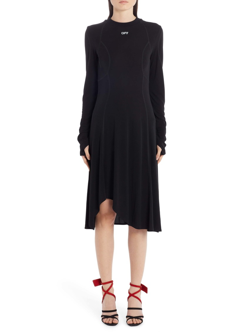 Off-White Asymmetrical Hem Long Sleeve Dress