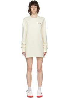Off-White Beige Embroidered Floral Arrows Sweatshirt Dress