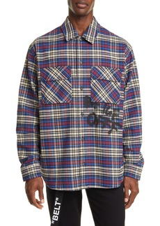 Off-White Button-Up Plaid Flannel Shirt