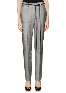 Off-White c/o Virgil Abloh Women's Checked Cotton Twill Belted Trousers