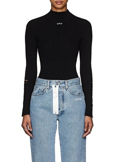 f5ee7d18473cdd Off-White c o Virgil Abloh Women s Distressed Rib-Knit Top
