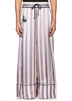 Off-White c/o Virgil Abloh Women's Striped Satin Wide-Leg Pants