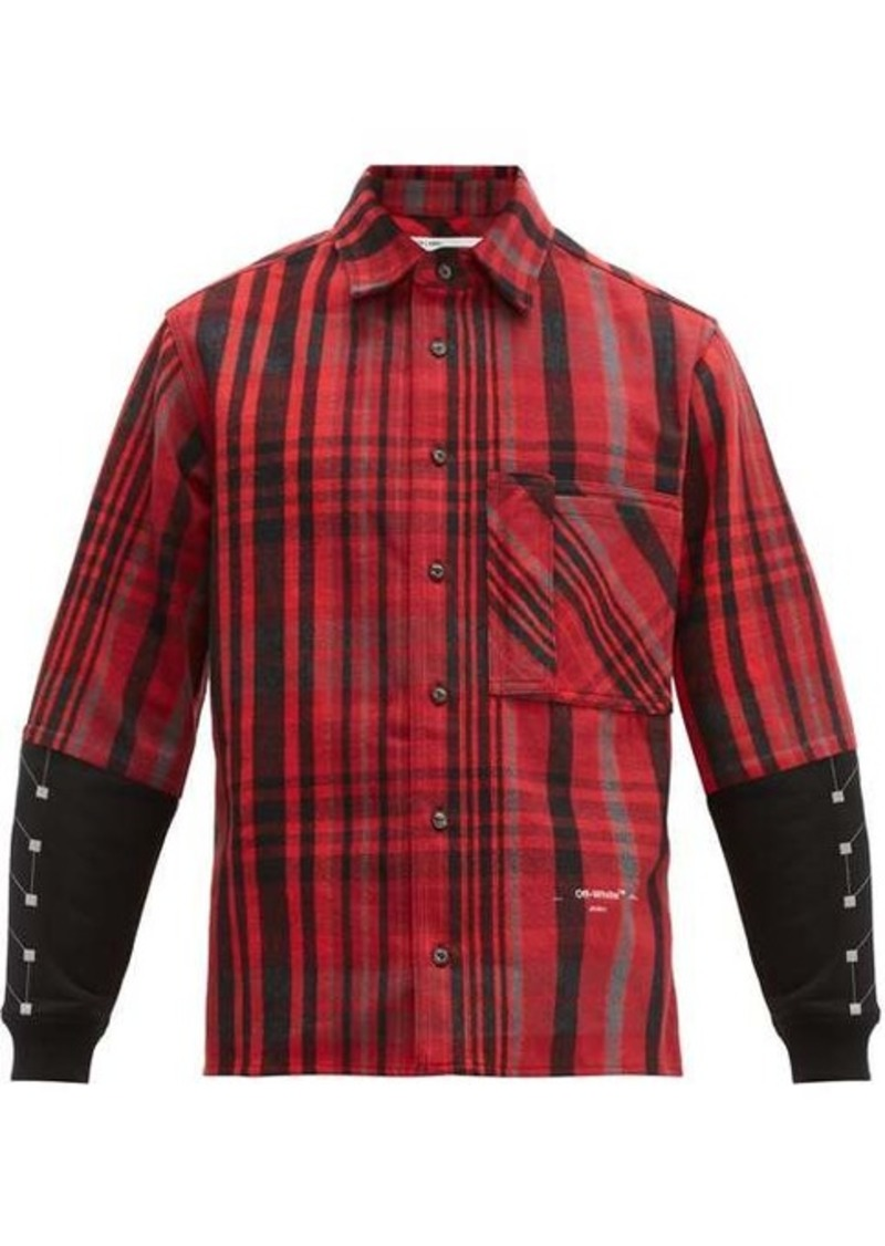 Off-White Contrast-panel checked cotton-blend shirt