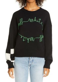 Off-White Cornelly Stitched Logo Wool Blend Sweater