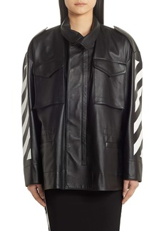 Off-White Diagonal Stripe Leather Field Jacket