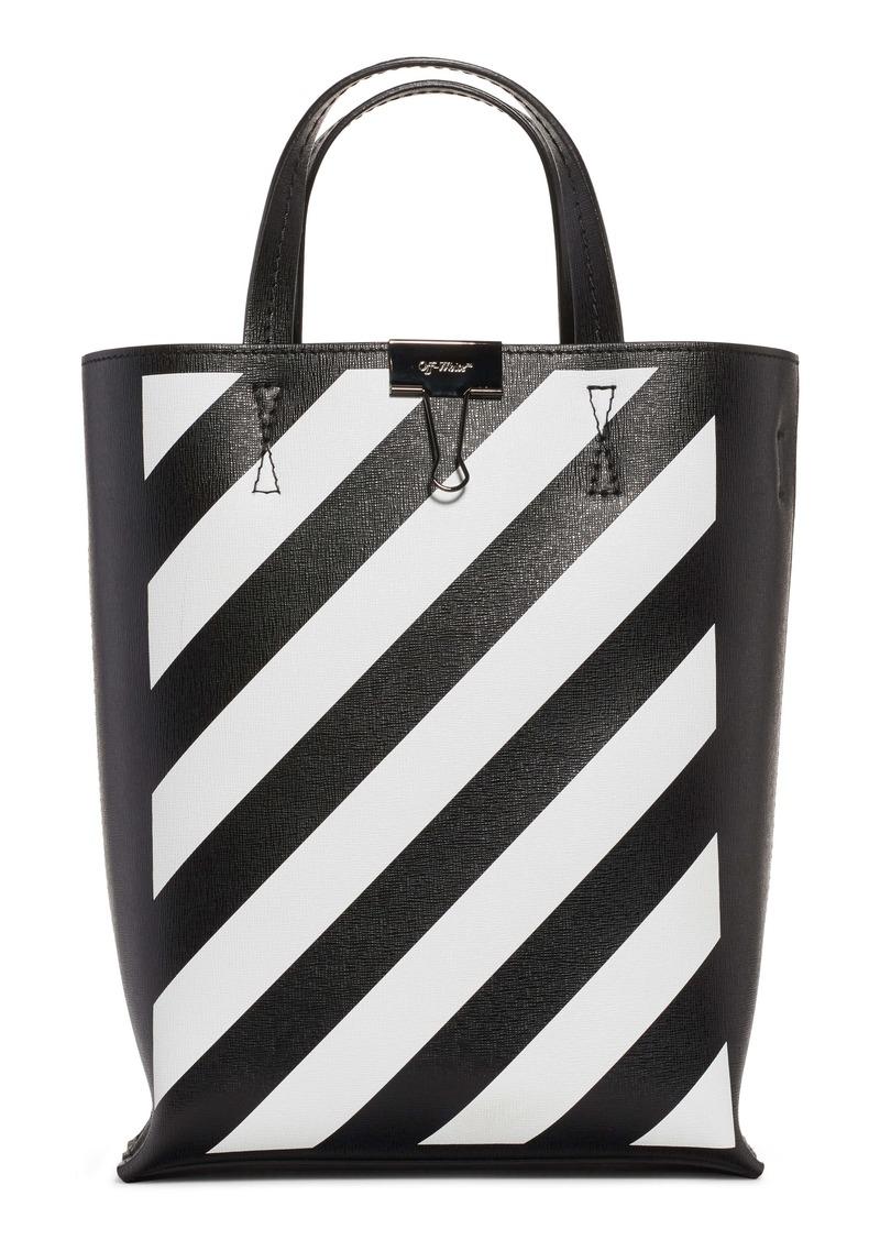 Off-White Diagonal Stripe Leather Tote